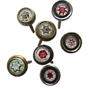 Group of 7 19th Century Glass Picture Painting Nail Covers Hooks Star Flower