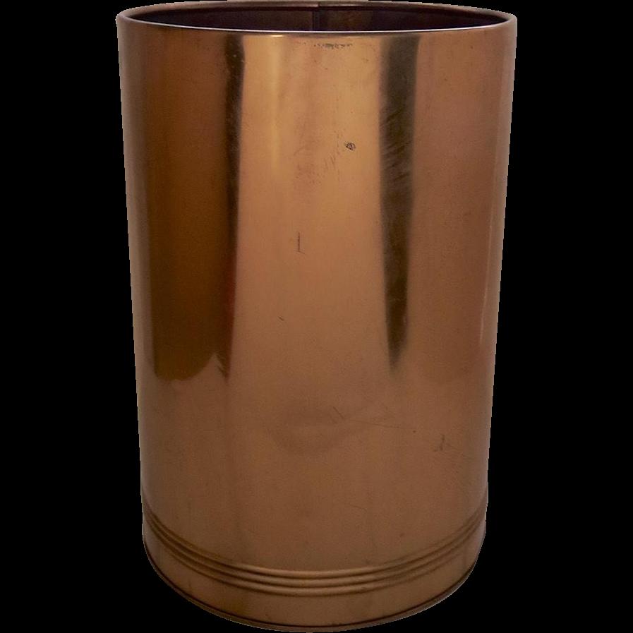 Vintage copper waste trash basket bin can by kreamer from blacktulip on ruby lane - Copper wastebasket ...