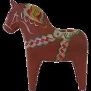 Vintage Hand Carved Painted Dala Horse Swedish Sweden Folk Art