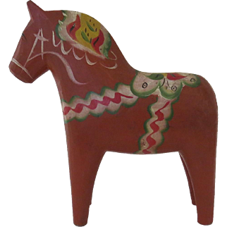 Vintage Hand Carved Painted Dala Horse Swedish Sweden Folk Art