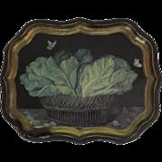 Vintage Tole Tray by Ian Logan Trompe L'oeil Cabbage Butterflies