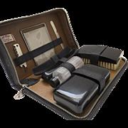 Vintage Men's Travel Grooming Kit Case by Bak-Prop Top Grain Black Leather Cork Screw