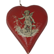 German Germany Papier Mache Candy Box Ornament Heart Shaped Cupid Valentine