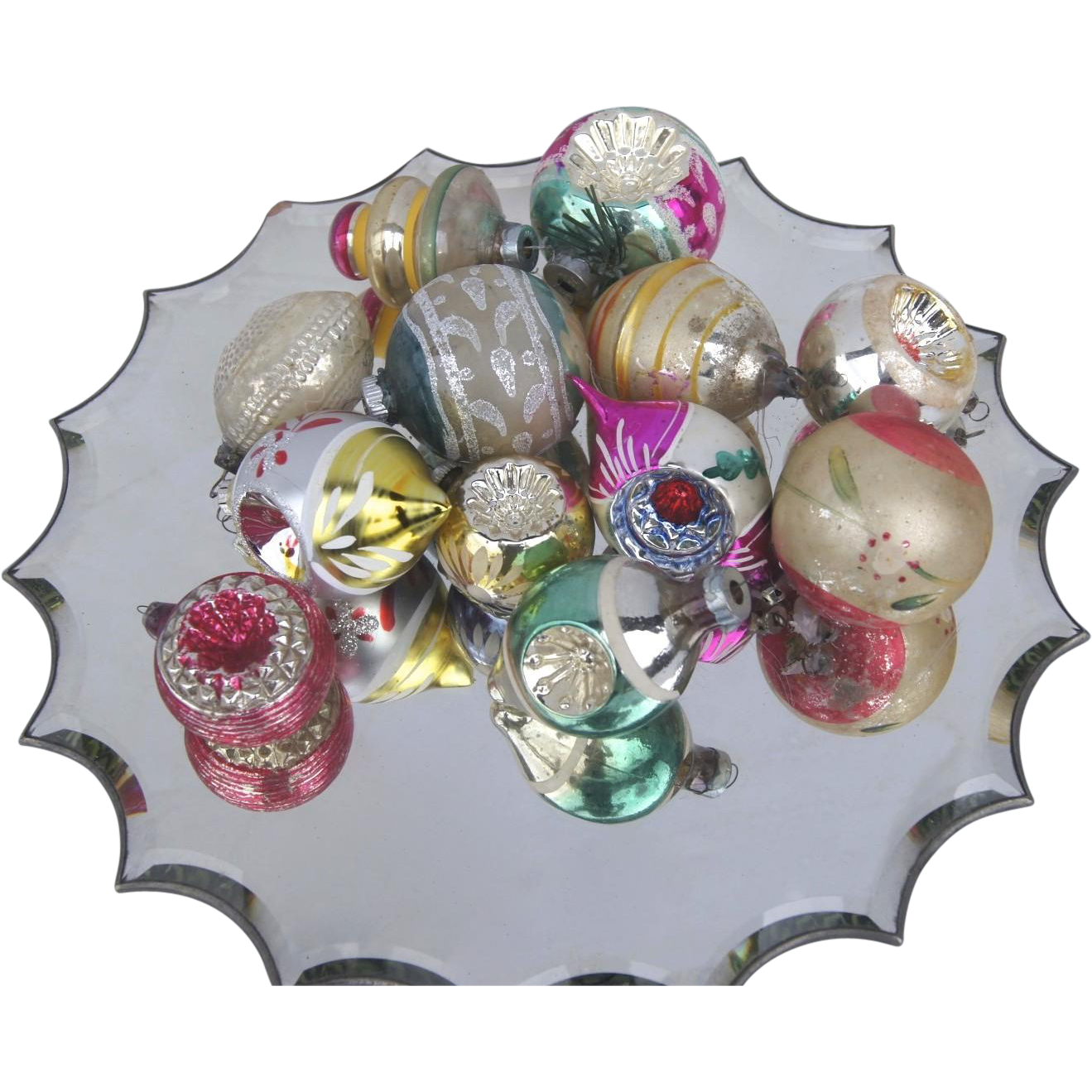 12 x vintage glass christmas tree ornaments sphere indents Vintage glass christmas tree ornaments