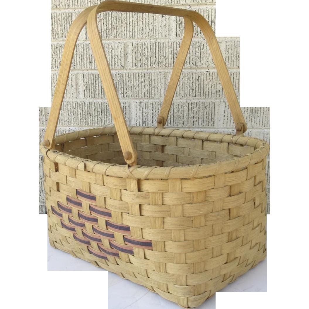 Handmade Market Baskets : Vintage handmade split oak swing handle market basket by