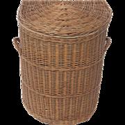 Vintage Demi-Lune Woven Natural Wicker Hamper