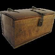 Early Iron Strap Hinge Box 18th Century