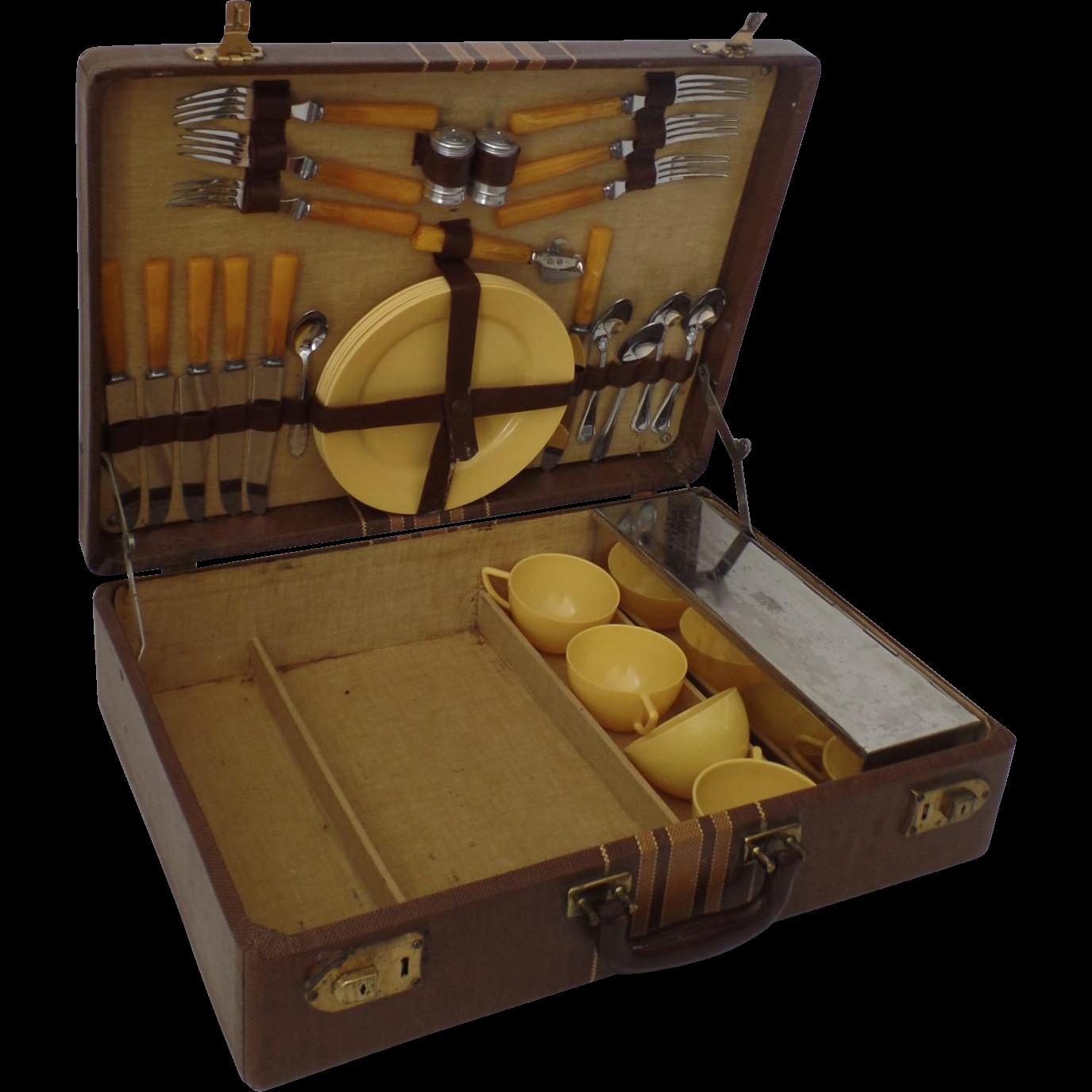 Vintage 1940s Picnic Basket Set Suitcase Yellow Bakelite Airstream ...