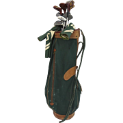 Waialae Country Club MacGregor Leather Canvas Golf Bag Spalding Top Flight Golf Clubs Tags Noble Chalfant L. J. Dutch McClellan