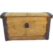 19th Century Continental Dome Lid Pine Box