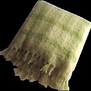 Vintage Mohair Wool Plaid Blanket Celery Green Donegal Designs Irish Ireland