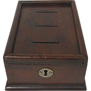 English Mahogany Money Box Slots Sliding Lid