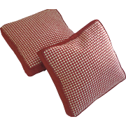 Vintage Hand Made Needlepoint Square Pillows Grid Pattern Red