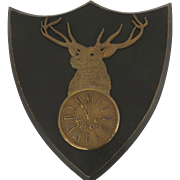 1900's B.P.O.E. Bronze Brass Cast Shield Shape Wall Plaque Elk Club Lodge Clock 11th Hour made by F. L. Bennett & Co Rochester, N.Y.