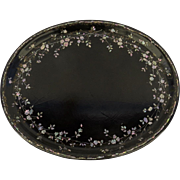 English Mid 19th Century Papier Mache Oval Tray Inlaid with Mother of Pearl