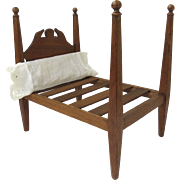 Vintage Hand Made Wooden Four Poster Doll Bed