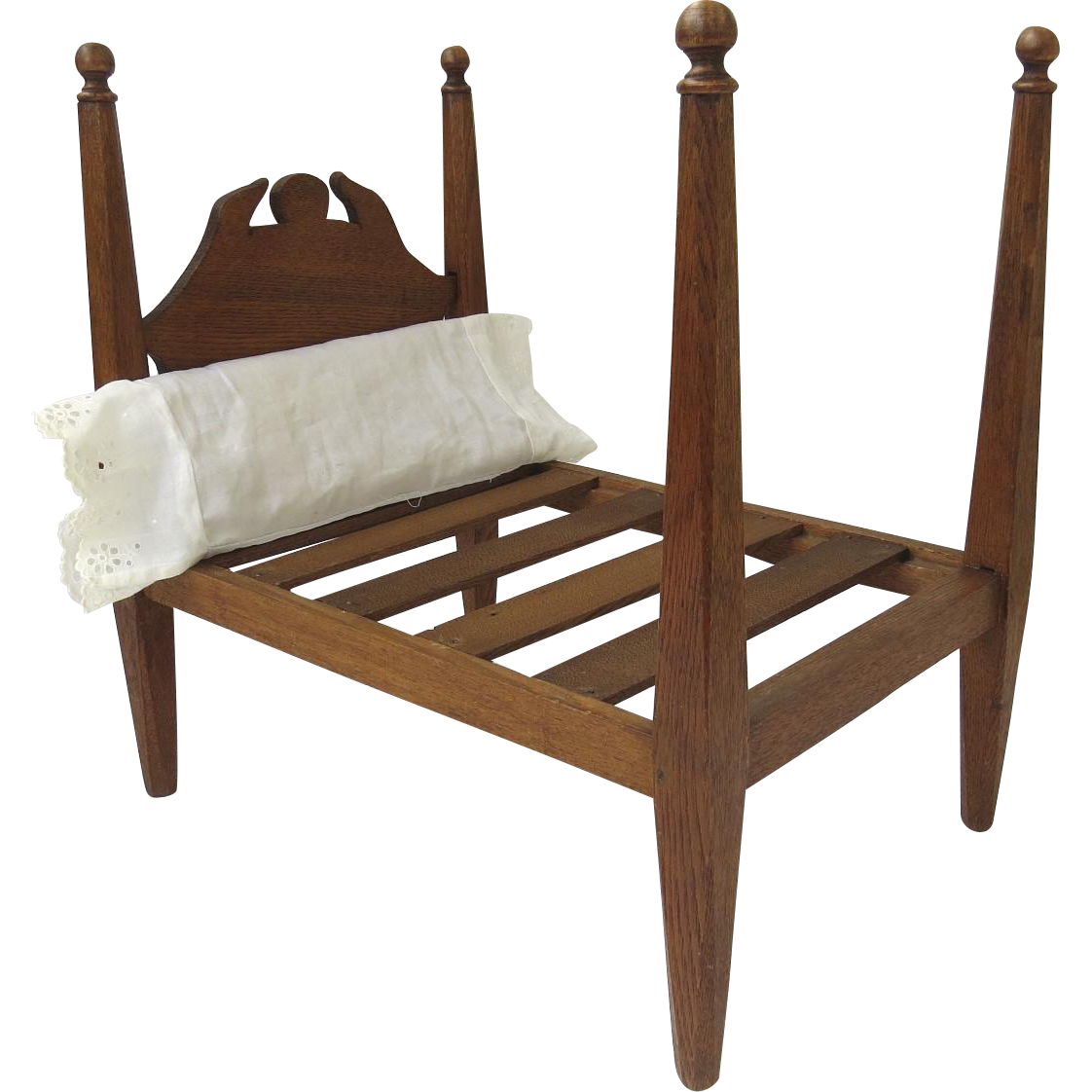 Vintage hand made wooden four poster doll bed from for Wooden four poster bed