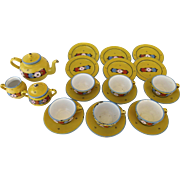 Vintage Child's Tea Set Yellow Enamel Granitware Germany German 15 Pieces