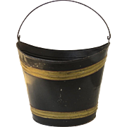 19th Century Painted Peat Bucket with Swing Handle