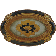 Vintage Florentine Small Oval Tray Blues Gold