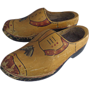 Vintage Painted Wooden Shoes Large Size Horse Head