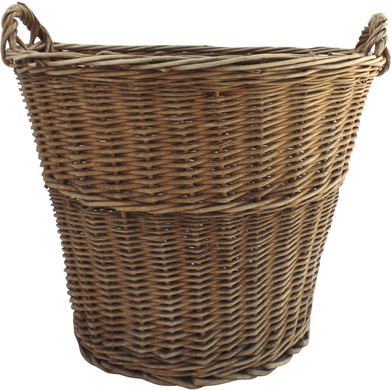 Vintage French Style Wicker Laundry Basket Tall Side ...