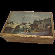 Vintage Italian Florentine Wood Gilt Scene of Venice