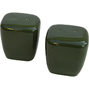 Pair Vintage Salt & Pepper Shakers Leaf Green Ceramic