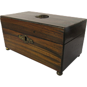 Regency Rosewood Mahogany and Ebony Tea Caddy c 1820 Round Feet
