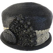 VIntage Cloche Hat Black Straw with Encrusted Beads Early 1900s