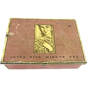 Vintage Art Deco Pink Tin Cutex Advertising Cutex Five Minute Set Box