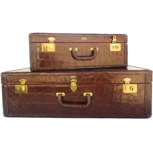 Two Piece Matching Set of Alligator Luggage from the Famous I Magnin Department Store in San Francisco.