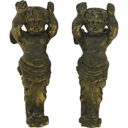 Vintage Pot Metal Cherubs circa 1950 Pair Putti