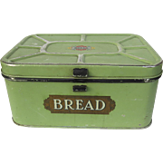 Vintage Metal Bread Box Painted with Hinged Lid