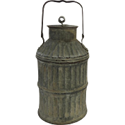 Great Old Oxidized Large Milk Can Pan with Shaped Handle Ribbed