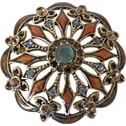 Large Vintage Monet Rhinestone Enamel Pin Brooch