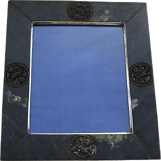 Chinese Jadeite Stone Silver Picture Frame Easel Back Birds