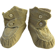 19th Century Baby Booties Shoes Embroidered Chamois Suede Soft Leather Moccasins High Top  Buttons