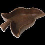 Mid Century Blair Co. Hawaii Monkey Pod Wood Leaf Shaped Bowl Signed
