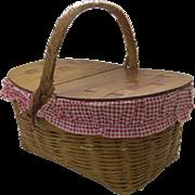 Vintage Picnic Basket Two Lids 1940's 1950's