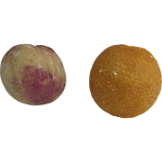 Two (2) pieces of Italian Italy Carved Stone Marble Fruit Orange Peach