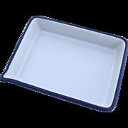 Vintage Blue and White Enamel Pan with Pour Spout