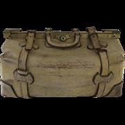 Vintage Leather Gladstone Satchel Doctor's Bag Straps Plaid Interior Luggage