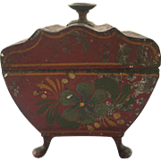 19th Century Tole Miniature Tea Caddy Sarcophagus Shape Red Paint with Paw Feet