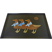 Vintage Mid Century Couroc of Monterey Large Serving Tray Stylized Ducks