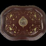 """19th Century Rare and Unusual  Papier Mache Lacquered Tray """"Quatro Centenario do Descobrimento da India"""" Commemorative of 400th-Year Anniversary of Discovery of India by Vasco Da Gama"""
