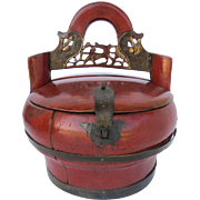 Vintage Chinese Red Lacquer Carved Food Container, Oval Shaped, Removable Lid; Brass Hardware