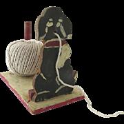 Vintage Adorable Handmade Painted Dog String Holder