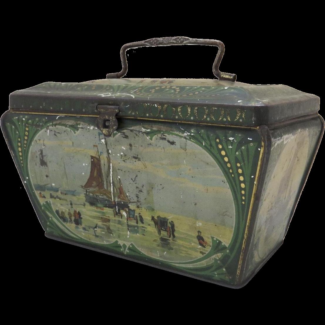 Vintage Dutch Scene Boats Tole Biscuit Tin Handle