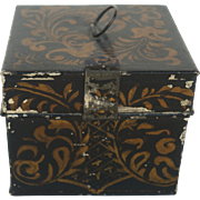 Vintage Stenciled Tin Box with Clasp, American